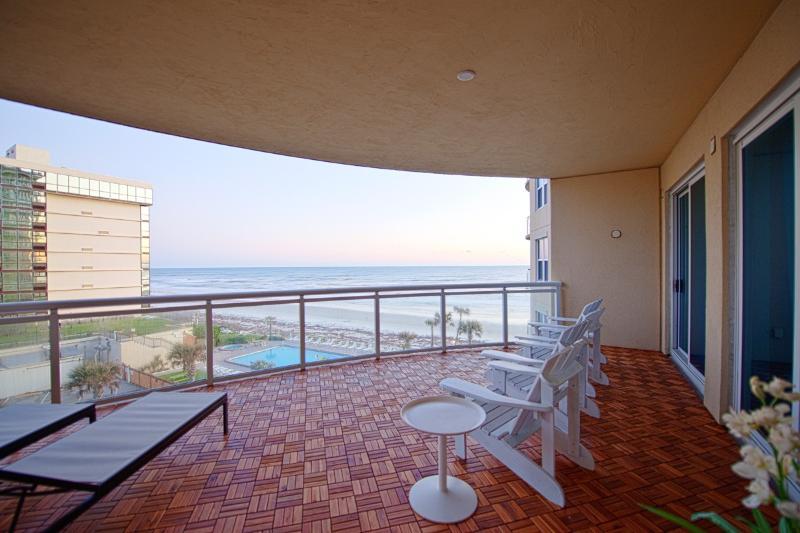 Terrace 500 sf, teak decking, overlooking beach