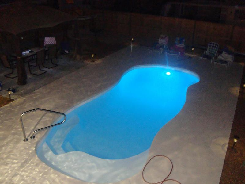 Night time view of your private salt water backyard pool!