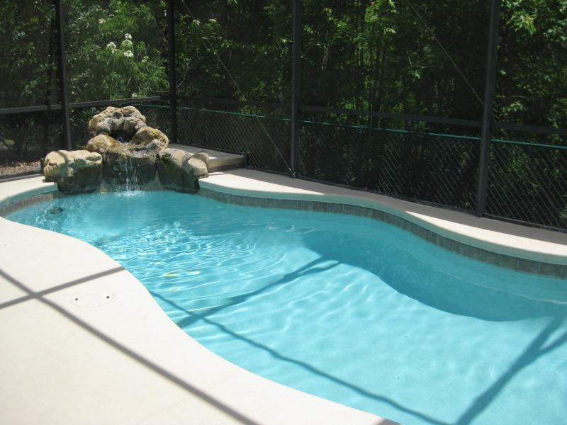 Private pool backing against conservation area