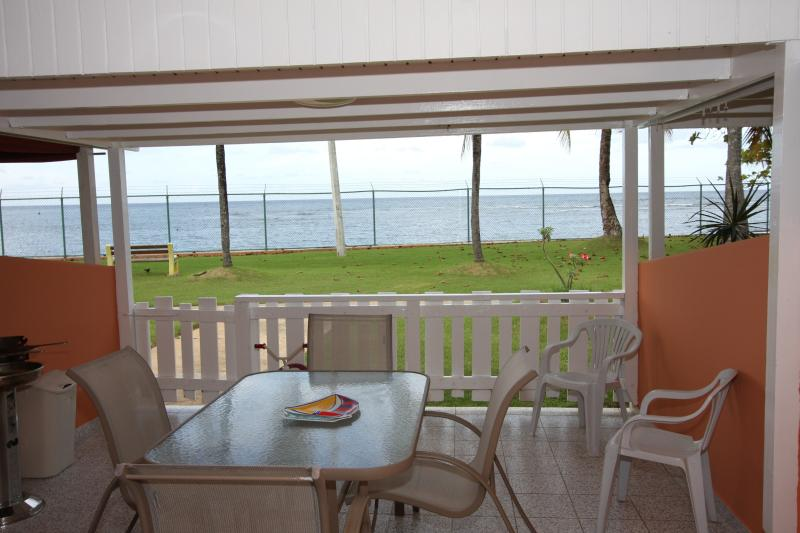North terrace overlooking Atlantic Ocean...perfect for BBQ/sharing meals w/view! Water,A/C,Internet!