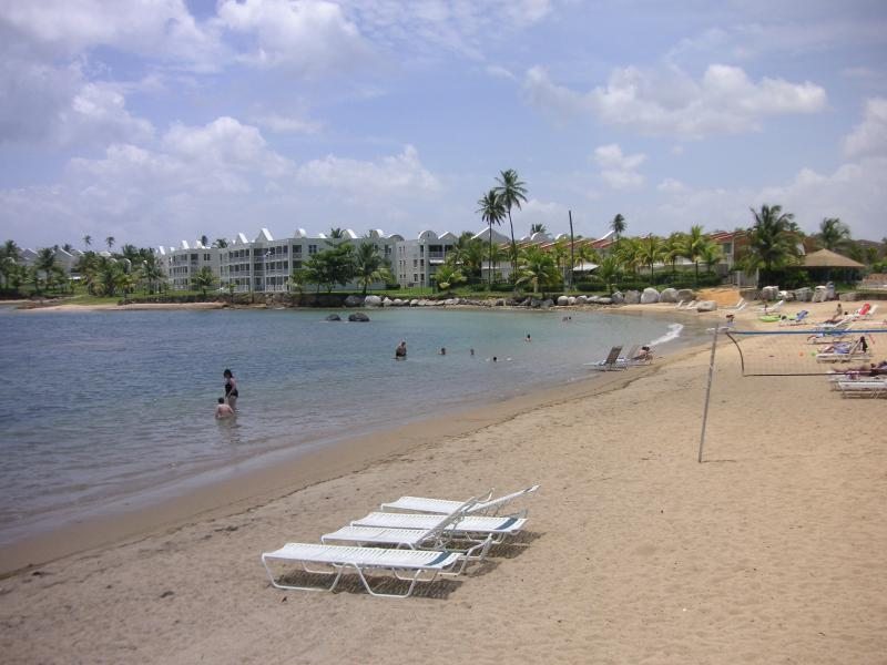 Beach shared w/hotel...few steps from villa...may order food/drinks from hotel.