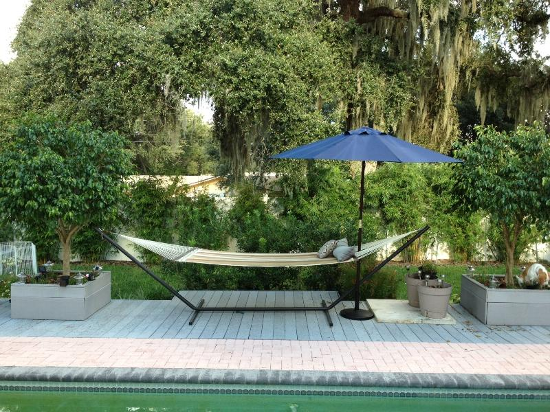 comfy hammock to relax - there is also a bbq on the right but not on picture