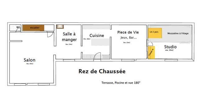 Plan du RdC (4 couchages dans le studio)