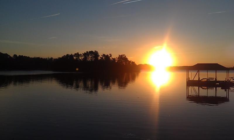 Sunrise from the dock on the beautiful Lake Keowee!