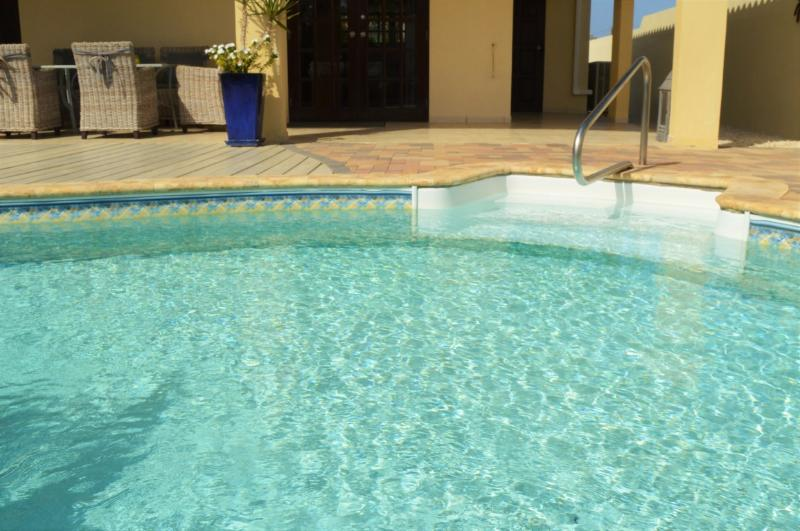 pool with safe handle and easy steps. soft, vinyl pool liner