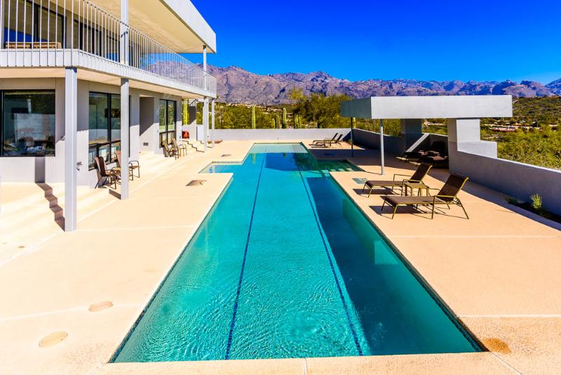 Private deck and large lap pool with spectacular views in every direction.