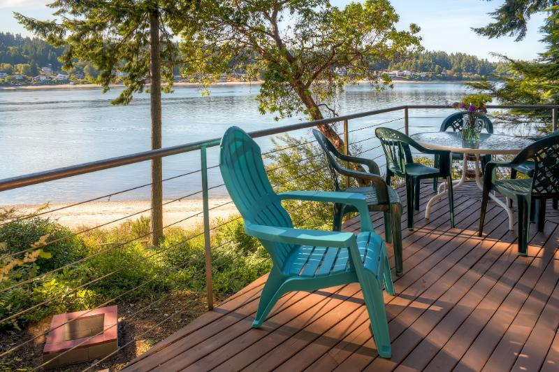 Multiple decks offer fantastic waterfront views.