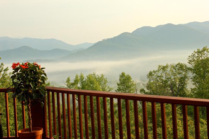 Misty mountain summertime sunrise.