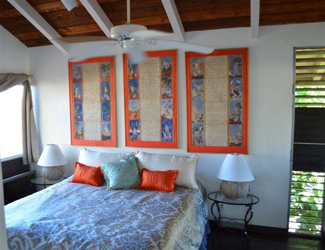 ALOHA Master Bedroom which opens to lanai & bath Luxury linens with allergy free cover