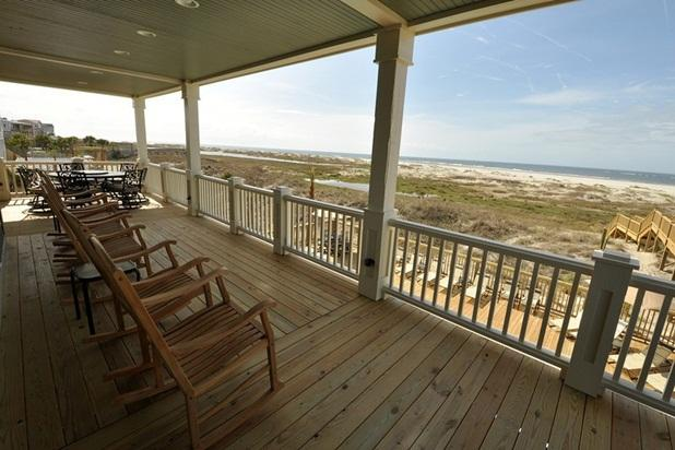 Relax rocking your day away on the ocean front deck.