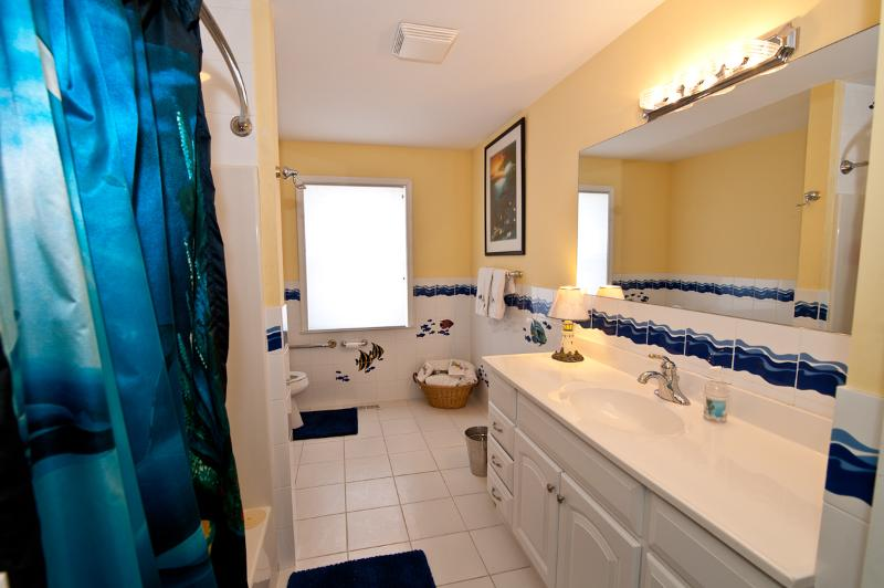 Large 1st Floor Bathroom with Fish Swimming Around You :).