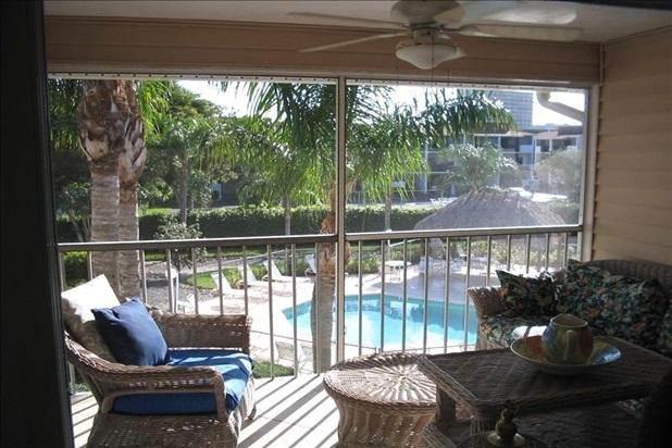 Lanai view of pool, tiki hut. Only 15 condos in Seabury-pool all yours & often!