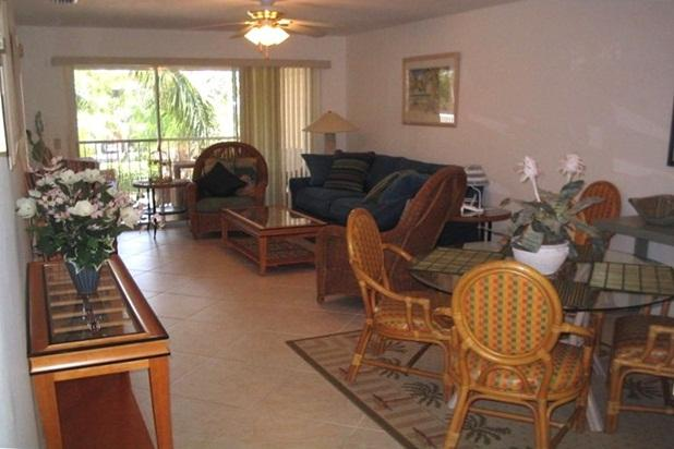 View of living room to lanai