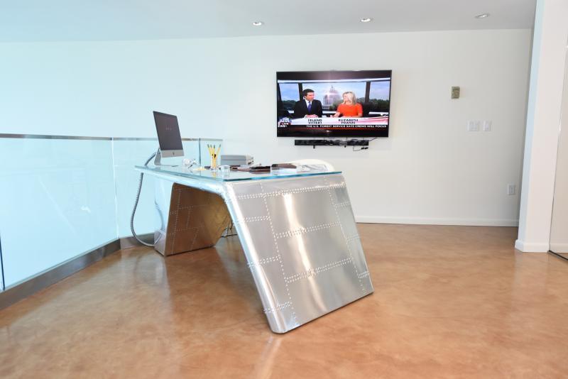 2nd floor den area, 79' Executive World War II inspired aviator desk w/ Internet