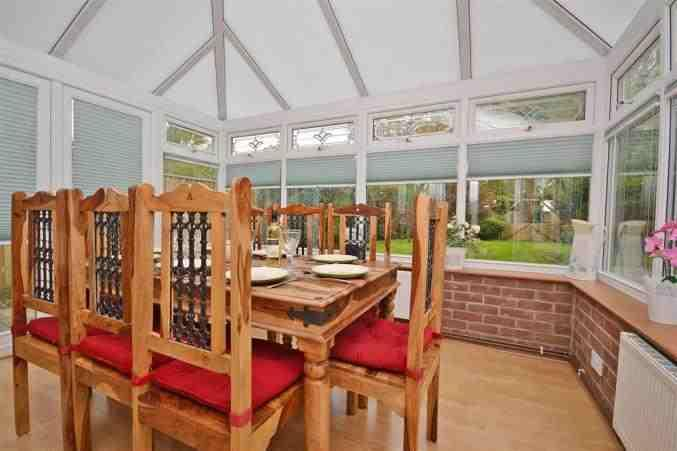 Dining in conservatory