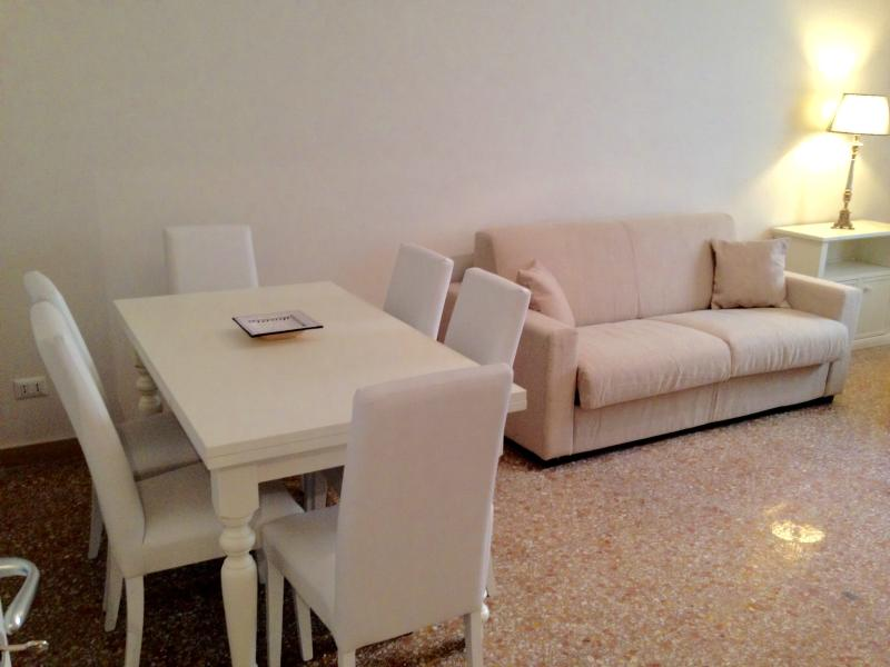 The large living room with extending table, satellite TV with DVD and dock