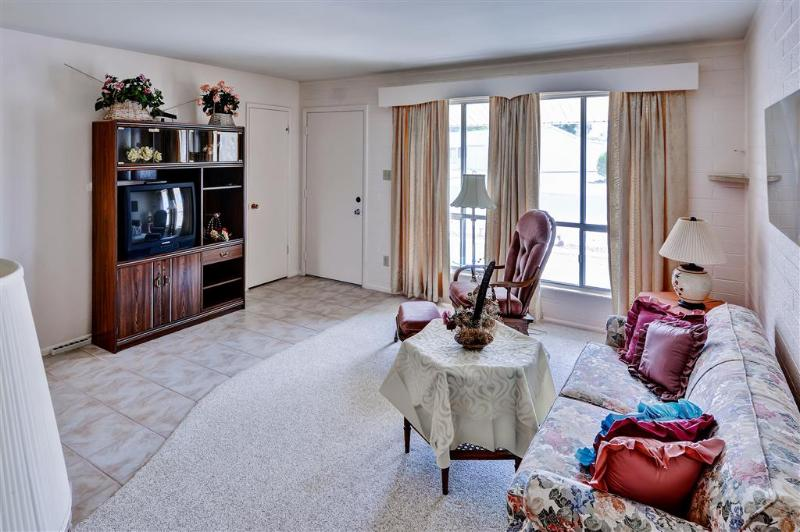 Relajarse en esta sala de estar bien equipada y ver su programa favorito en el televisor