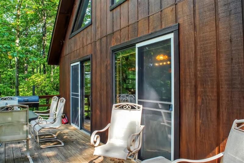 Unwind on the private deck and take in the phenomenal forested views