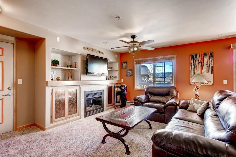 Look forward to unwinding by the cozy gas fireplace while you watch movies on the flat screen TV.