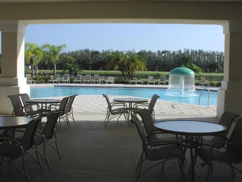 Poolside seating at clubhouse