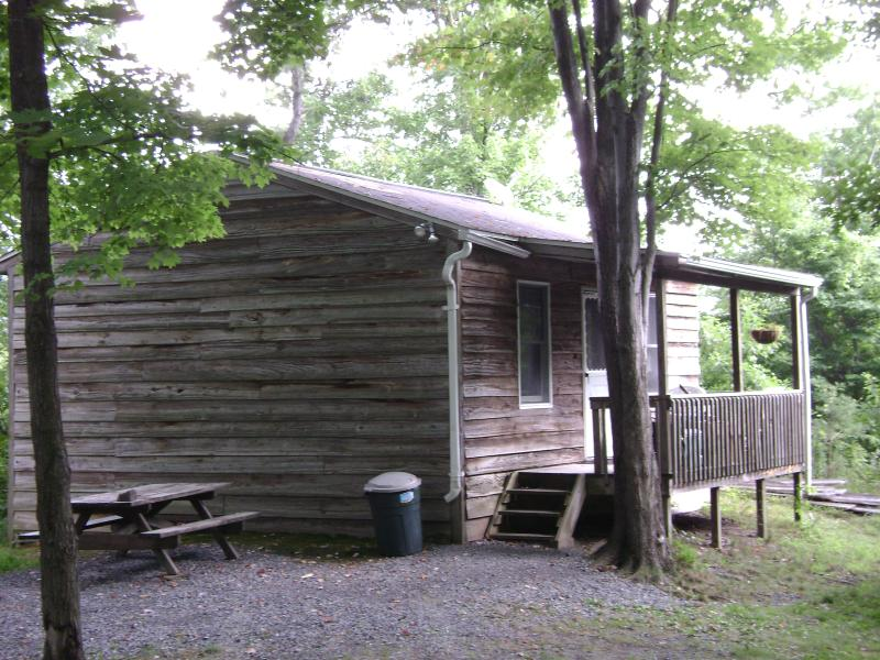 Cabin #1 front. off-season, $79/n, $400/wk; in-season $79-$99/n, $550/wk
