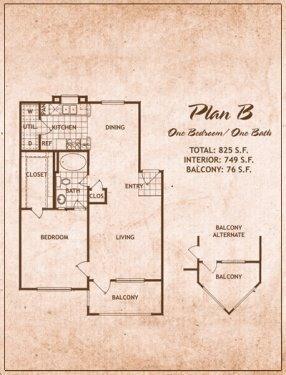 1 Bedroom/1 Bath Floor Plan