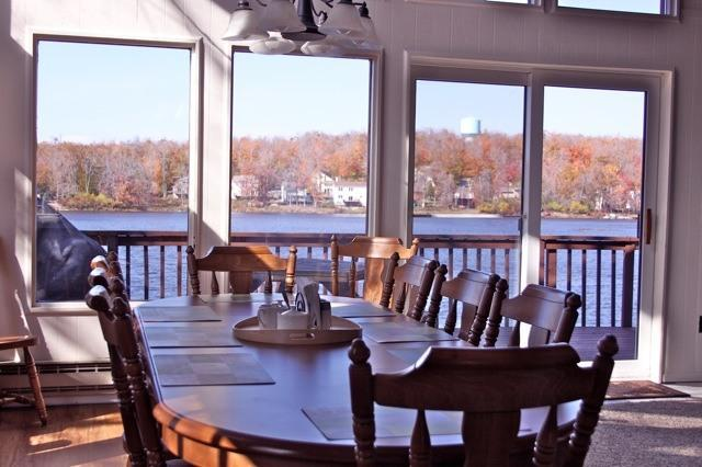 Dining room with full view of the lake.