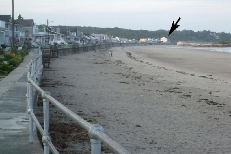 East view of Long Beach showing cottage (arrow)