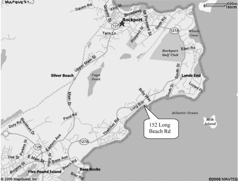 Map Cape Ann showing location of cottage
