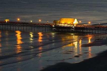 Pier on the Beach at Night