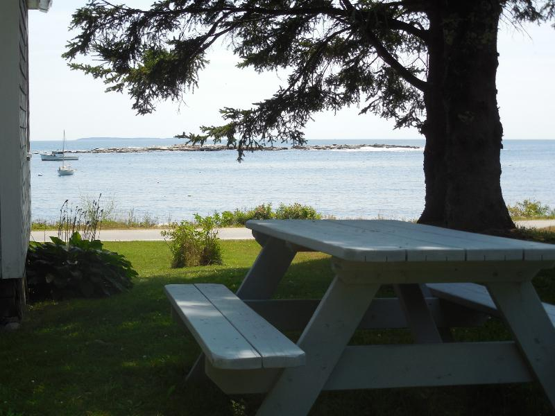 Picnic table with an ocean view.