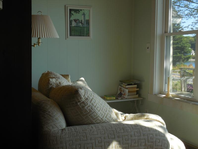 Reading corner in the front room with a gorgeous view.