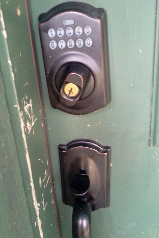 Combination door lock (choose your own 4-digit code to use for your stay)