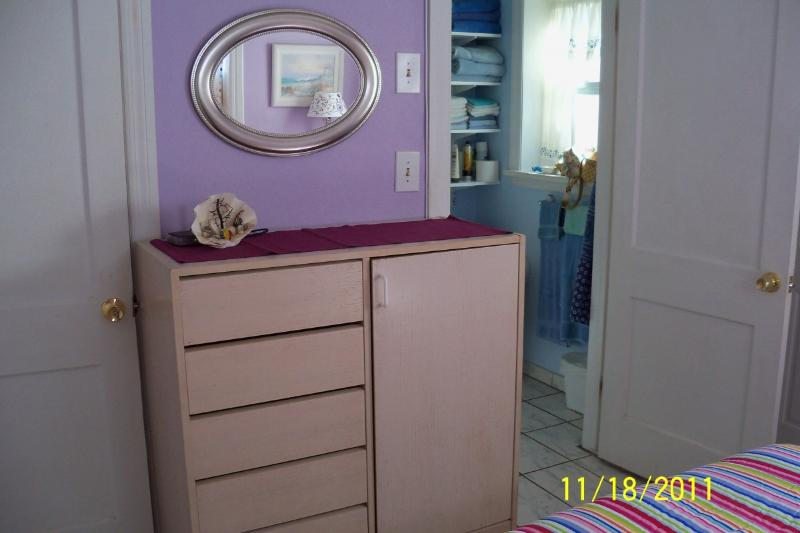 Dresser and walk in closet for your clothes Wi Fi   behind the shell