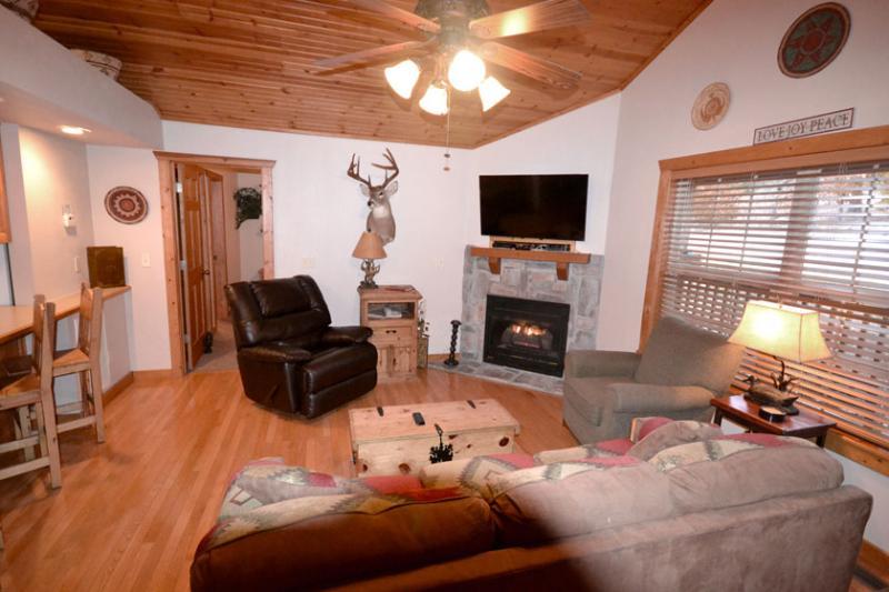 Sleeper Sofa, Recliner, HDTV, Fireplace in Great Room