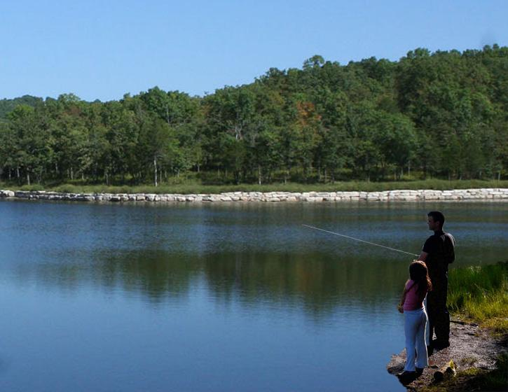 Fishing right outside the cabin. Fox Hollow Lake is well stocked, easy to catch.