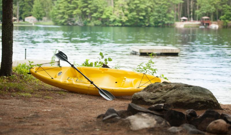 Fire pit, kayak and swim to float