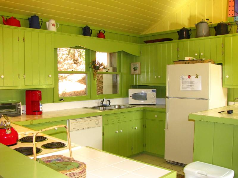 Well stocked, brightly colored kitchen.