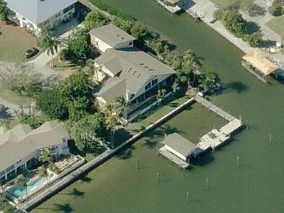 Aerial View of our large fabulous home; we are on Matanzas Bay & a Canal.
