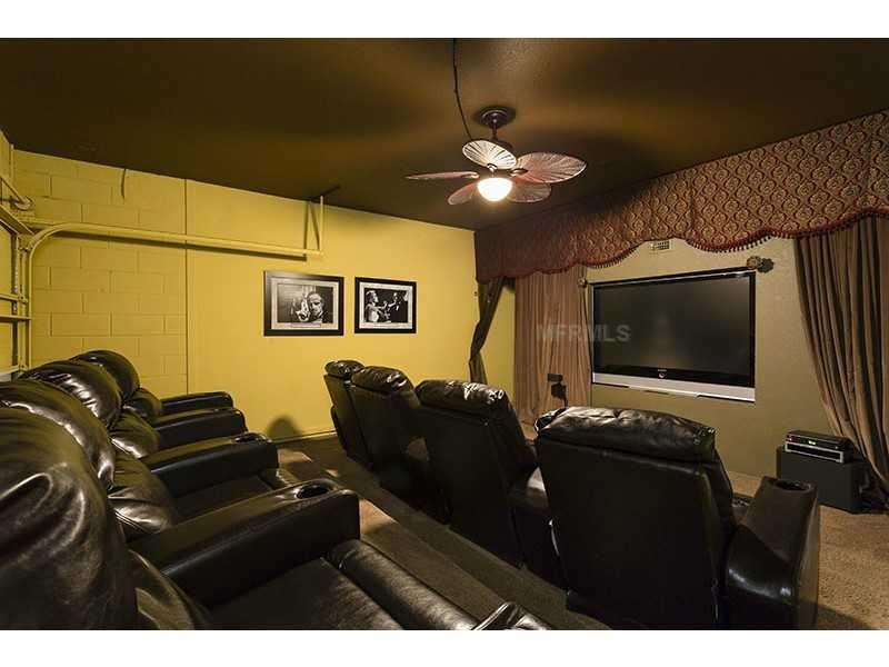 Home theater with 71-inch Samsung TV, Bose surround sound, Wii
