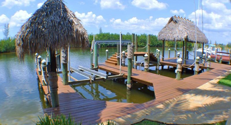 Dock of home with boatlift