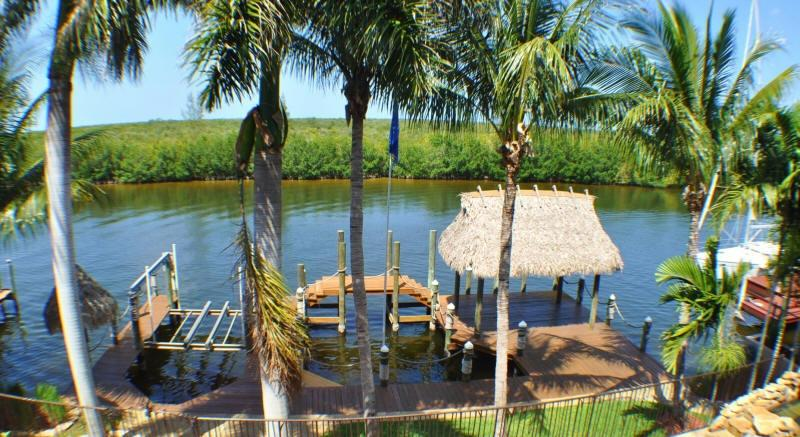 View from pool area of waterfront, dock and Mangroves
