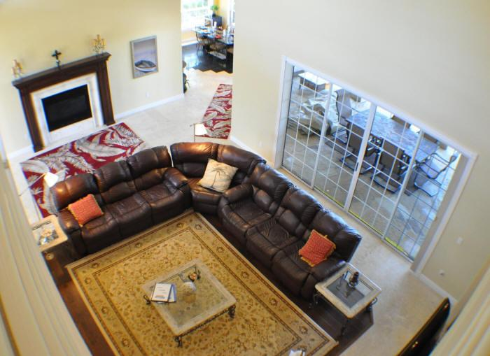 looking down to main living area, from second story