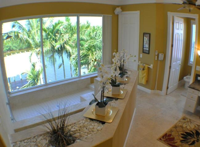 Master bath tub and shower with view