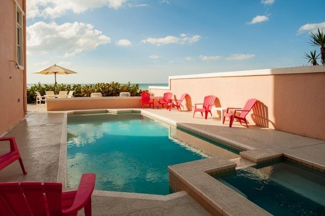 Private Pool and Hot Tub overlooking the Gulf of Mexico.  Pool is heated at 85.