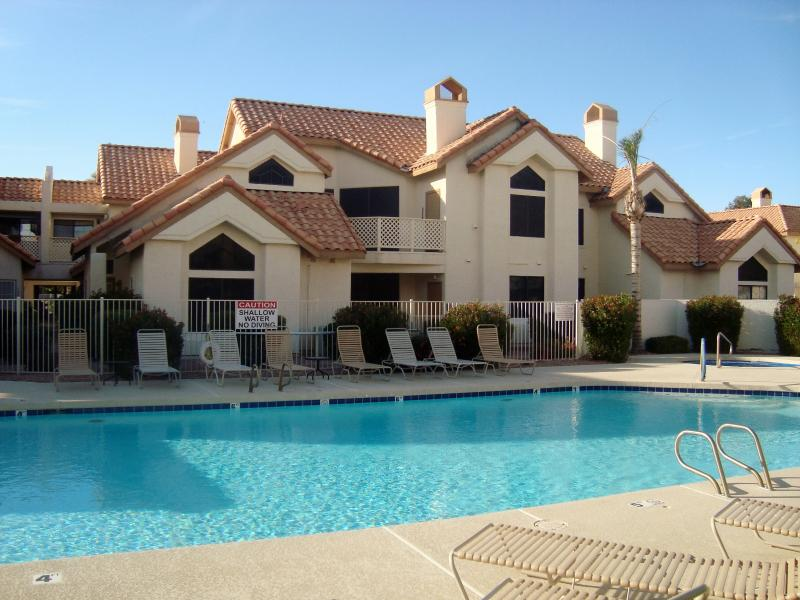 Heated pool/spa by the unit.  Right across from the unit.