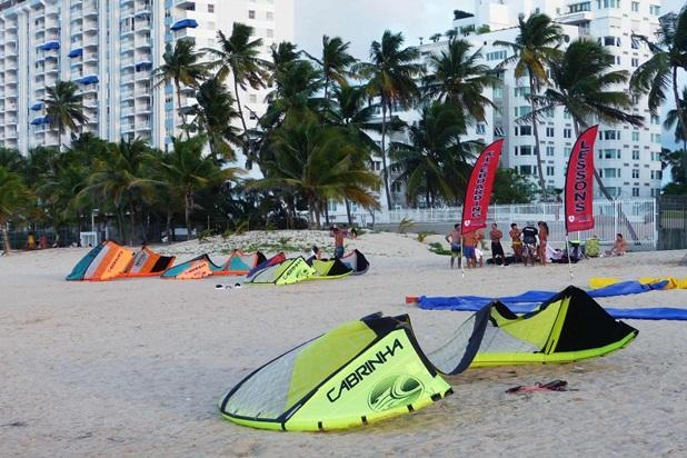 Learn how to kite surf, right down the beach. We are located at upper left.