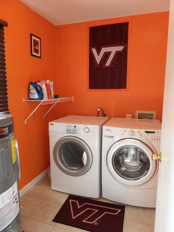 Laundry room - features front load washer and dryer. Go Hokies!