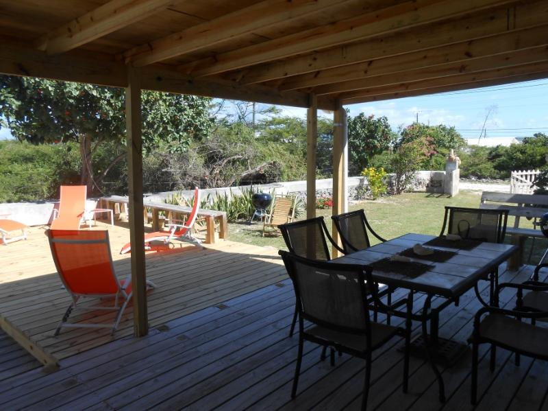 Deck has shade and sun areas.
