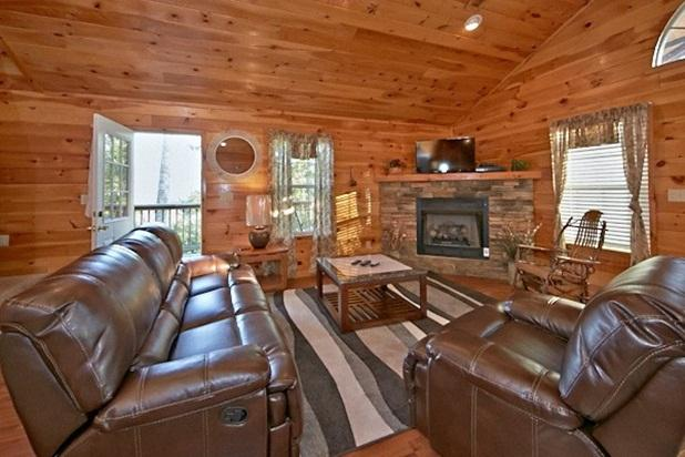 Family room that leads to the side deck and mountain view.